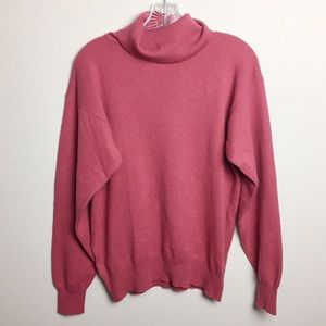 Sweaters - Pink Cashmere Turtleneck Women's Sweater